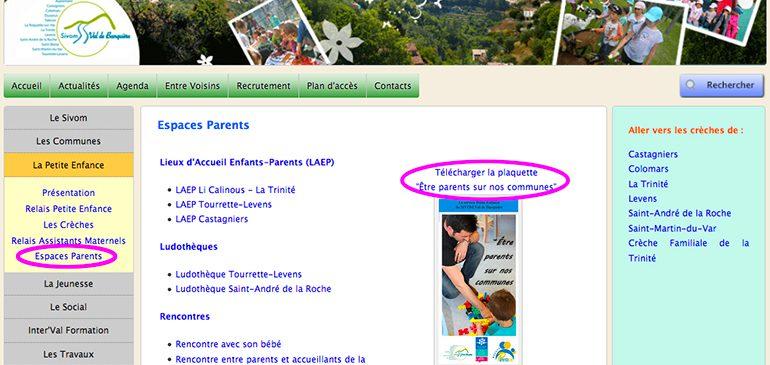 Une rubrique consacrée à l'espace des parents !