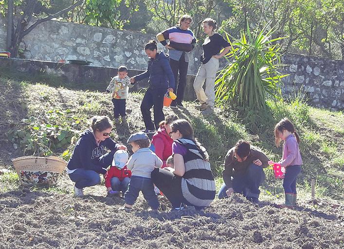 Parents et enfants au jardin potager partagé
