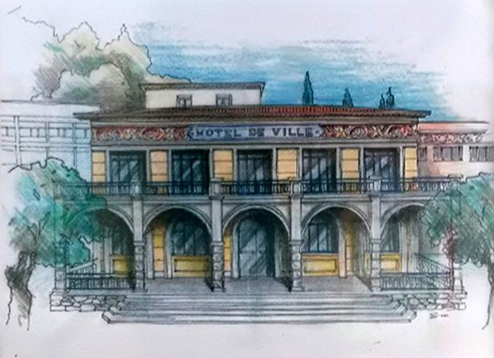 Esquisse de l'L'Hôtel de Ville de Tourrette-Levens