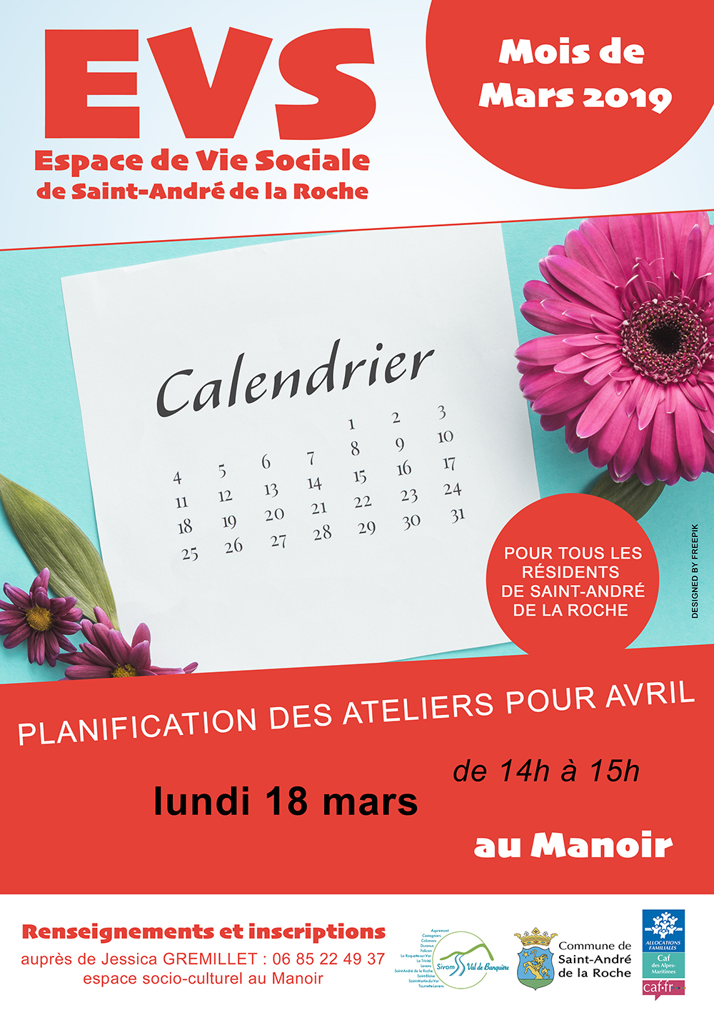 Planification des ateliers d'avril